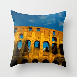Sunset Over The Roman Colosseum Throw Pillow