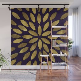 Classic Golden Flower Leaves Pattern Wall Mural