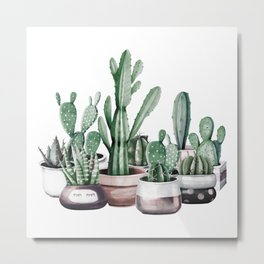 Cactus + Succulents Rose Gold Pattern by Nature Magick Metal Print