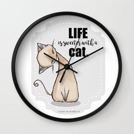 Life is Sweeter with a Cat Wall Clock