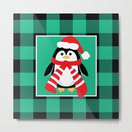 Christmas Penguin Buffalo Plaid Metal Print