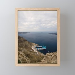 Stormy clouds over the sea. Santorini island, Greece Framed Mini Art Print