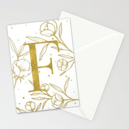 Letter F Gold Monogram / Initial Botanical Illustration Stationery Cards