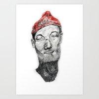 zissou Art Prints featuring Zissou by Nick Zafir