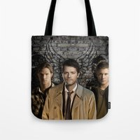supernatural Tote Bags featuring Supernatural by SB Art Productions