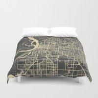 memphis Duvet Covers featuring Memphis map by Map Map Maps