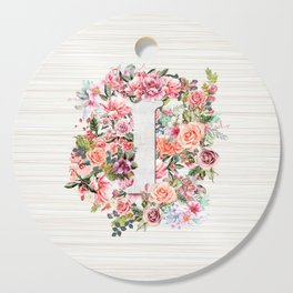 Initial Letter I Watercolor Flower Cutting Board