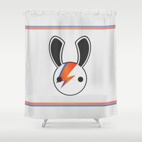 aladdin Shower Curtains featuring An Aladdin Sane Bunny by Richard Lee Roberts