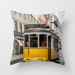 Tram in Lisbon Throw Pillow
