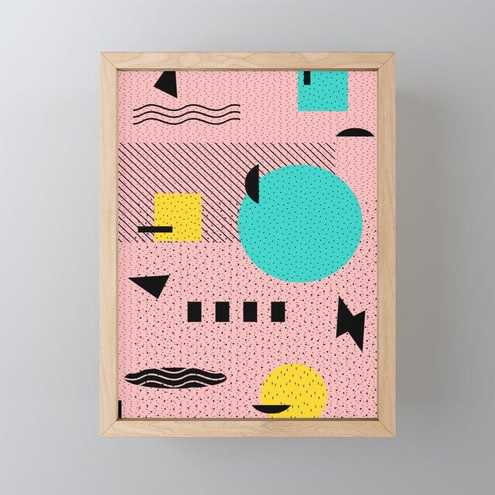 Hello Memphis Peach Berry Framed Mini Art Print
