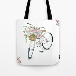 Vintage White Bicycle with English Roses Tote Bag