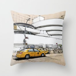 Guggenheim New York, umbrellas and yellow cabs. Sketch Throw Pillow