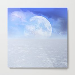 Desert Moon in Full Blue Metal Print
