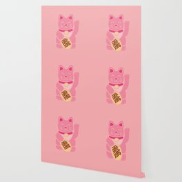 Lucky Cat in Pastel Pink Wallpaper