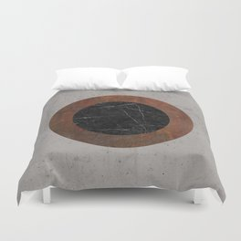 Concrete, Rusted Iron, and Black Marble Abstract Duvet Cover