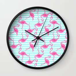 Pretty Pink Flamingo Aqua Stripes Pattern Design from Aroon Melane  Wall Clock