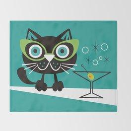 1950s Swank Mid Century Modern Martini Cocktail Kitty Cat Throw Blanket