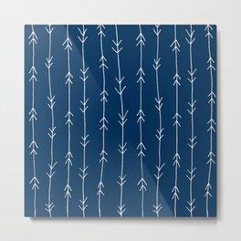 Arrow Pattern: Navy Blue Metal Print