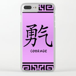 "Symbol ""Courage"" in Mauve Chinese Calligraphy Clear iPhone Case"