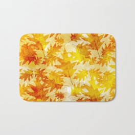 Autumn Oak Leaves Pattern Bath Mat