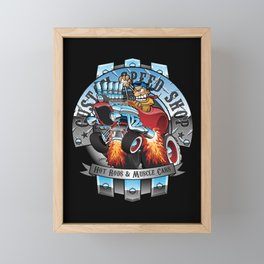 Custom Speed Shop Hot Rods and Muscle Cars Illustration Framed Mini Art Print