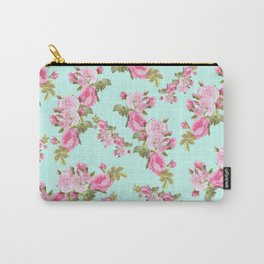 Pink & Mint Green Floral Carry-All Pouch