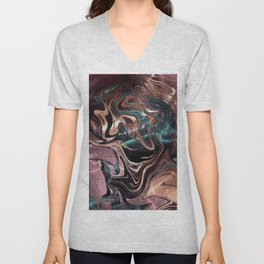 Metallic Rose Gold Marble Swirl Unisex V-Neck
