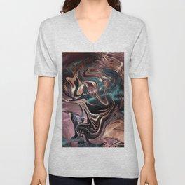 Metallic Rose Gold Marble Swirl Unisex V-Neck