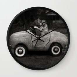 Ollie in his Car I Wall Clock