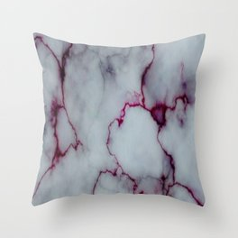 White with Maroon Marbling Throw Pillow