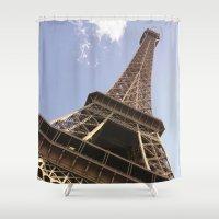 eiffel tower Shower Curtains featuring Eiffel Tower by caroline