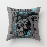monster inc Throw Pillows featuring War inc. by Tshirt-Factory