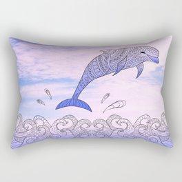 dolfin above the waves Rectangular Pillow