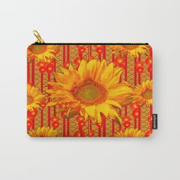 Yellow Sunflower On Red & Orange Patterns Carry-All Pouch