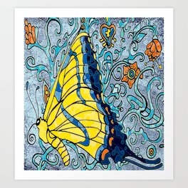 Butterfly in Vines  Art Print