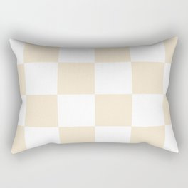 Large Checkered - White and Champagne Orange Rectangular Pillow