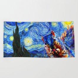 Starry Night Squirrel Photo Bomb Pop Art Beach Towel