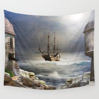 pirate ship Wall Tapestries featuring Pirate Bay by FantasyArtDesigns