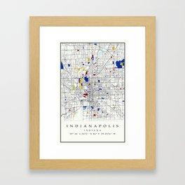 Indianapolis map poster print wall art | Indiana gift  | Modern map decor Framed Art Print