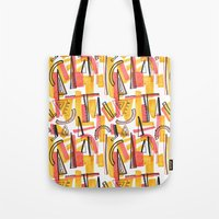 friday Tote Bags featuring Friday by The Patternbase