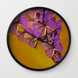 Shiny Purple Butterflies On A Ocher Color Background #decor #society6 Wall Clock