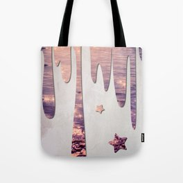 Glittery Purple Ocean Dripping on Grunge White Wall Tote Bag