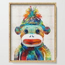Sock Monkey Art - Your New Best Friend - By Sharon Cummings Serving Tray
