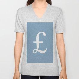 Pound currency sign on placid blue background Unisex V-Neck