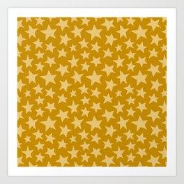 Mustard Doodle Stars Art Print
