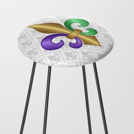 Purple Green and Gold Fleur-de-Lis on Gray Pattern Counter Stool