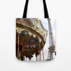 Paris Eiffel Tower Carousel - Paris Eiffel Tower and Carousel - Eiffel Tower Merry Go Round Tote Bag