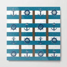 Retro Ocean and Sea Nautical Anchor brown Blue Metal Print