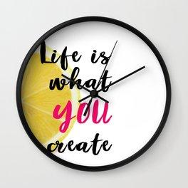 Lemon Quote Poster Wall Clock