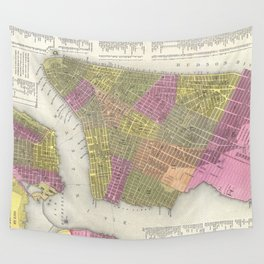 Vintage Map of New York City (1848) Wall Tapestry